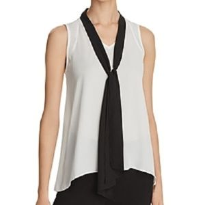 NEW Necessary Objects White Blouse Black Tie